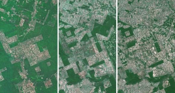 Déforestation de l'Amazonie - Vue satellitaire