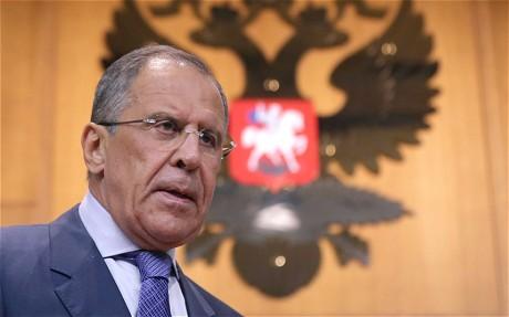 Le ministre russe des Affaires étrangères Sergueï Lavrov lors d'une conférence de presse à Moscou