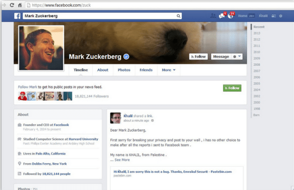 Lec compte de Mark Zuckerberg