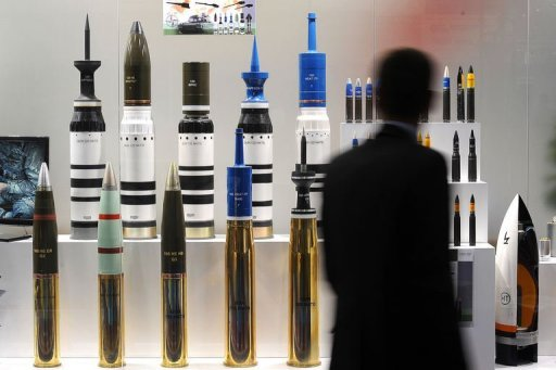 munitions de réservoir à la Défense et de la Sécurité Équipement juste d'armes international au centre ExCeL dans l'est de Londres, le 10 Septembre 2013.