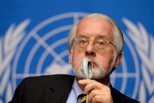 Président de la Commission d'enquête de l'ONU sur la Syrie, Paulo Sergio Pinheiro, tient une conférence de presse le 16 Septembre 2013, à Genève.