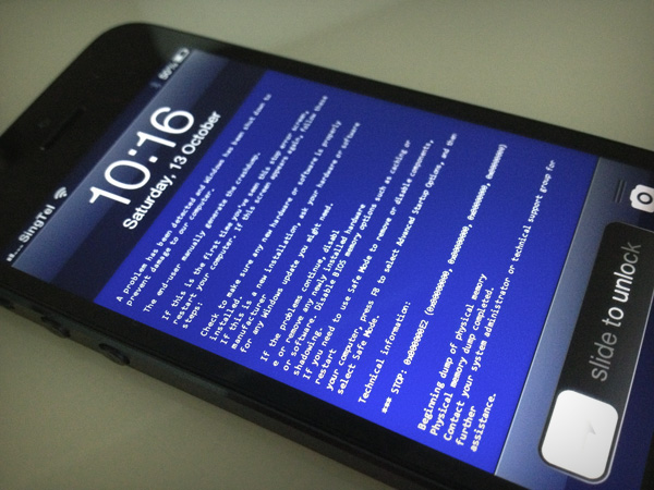 Blue Screen of Death sur Iphone