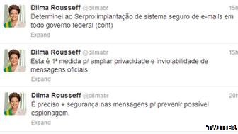 La série de tweets de la Présidente Dilma Rousseff