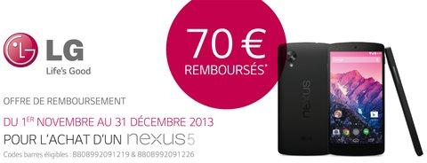 LG a officialisé une offre de remboursement de 70 euros pour l'achat d'un Google Nexus 5