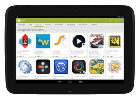 Google Play propose un filtre spécifique pour les tablettes