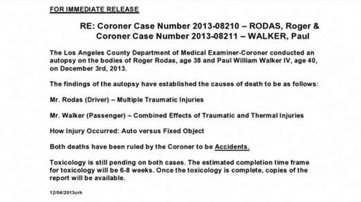 Le coroner LA publié les résultats de l'autopsie se Paul Walker et M. Rodas