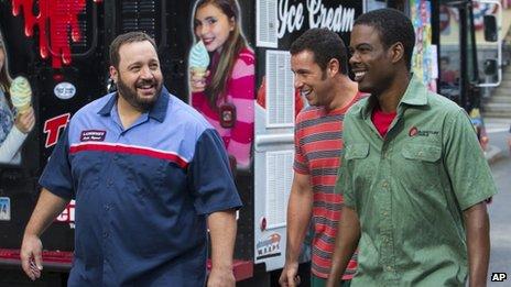 Kevin James (à gauche), dans Grown Ups 2 avec en Adam Sandler, et est sur la liste