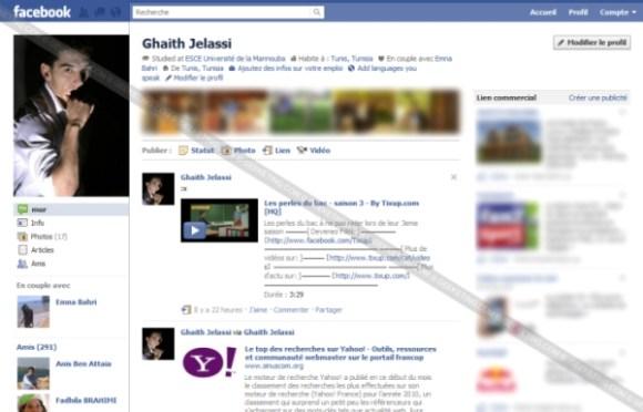 Nouvelle page de profil Facebook