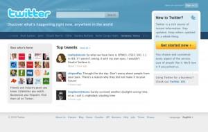 Ancienne page d'accueil du site Twitter.com