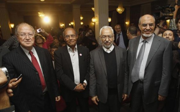 Mustapha Ben Jaâfar - Moncef Marzouki - Rached Ghannouchi - Hamadi Jebali