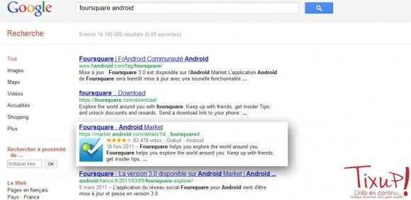 Google: Applications mobiles dans les résultats de recherche