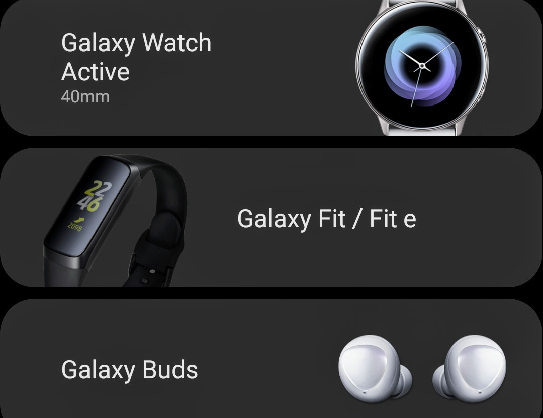 Galaxy Watch Active, Galaxy Fit e, Galaxy Buds Appeared On Galaxy Wearable App