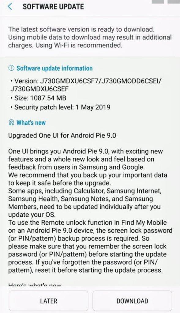 J7 Pro Update