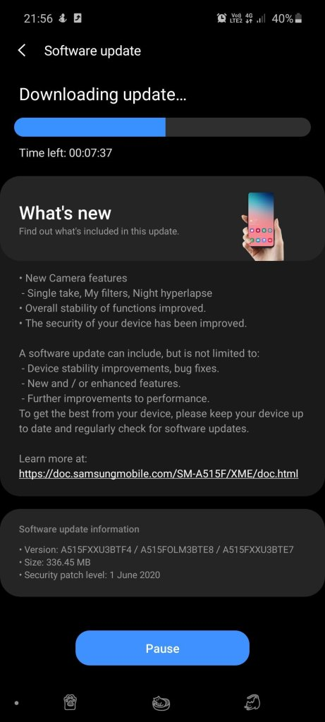 New Galaxy A51 Update