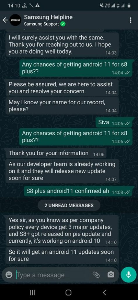 Galaxy S8 Android 11 Rumors
