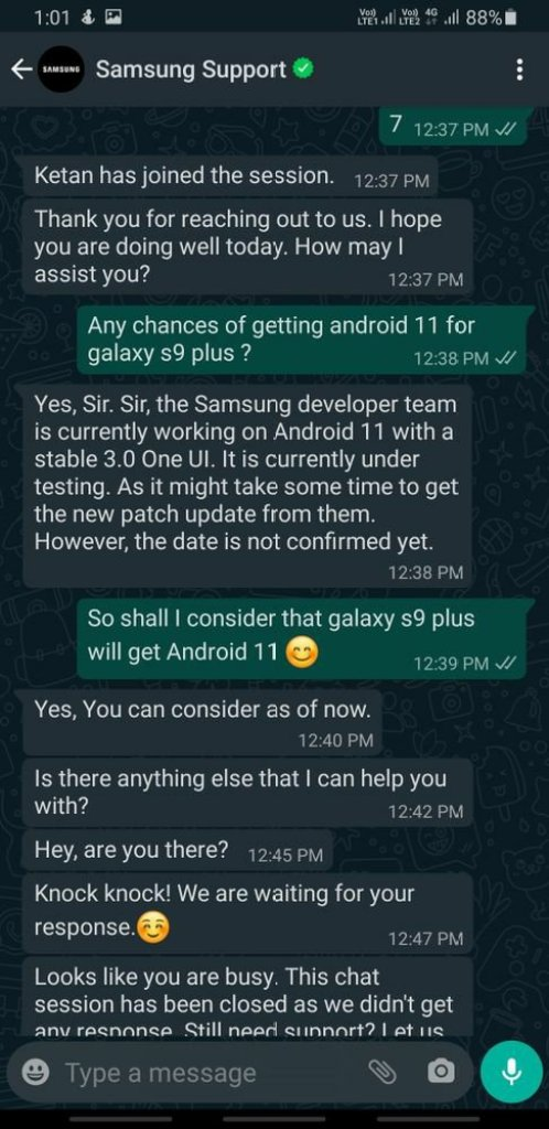 Galaxy S9 Android 11 Rumors