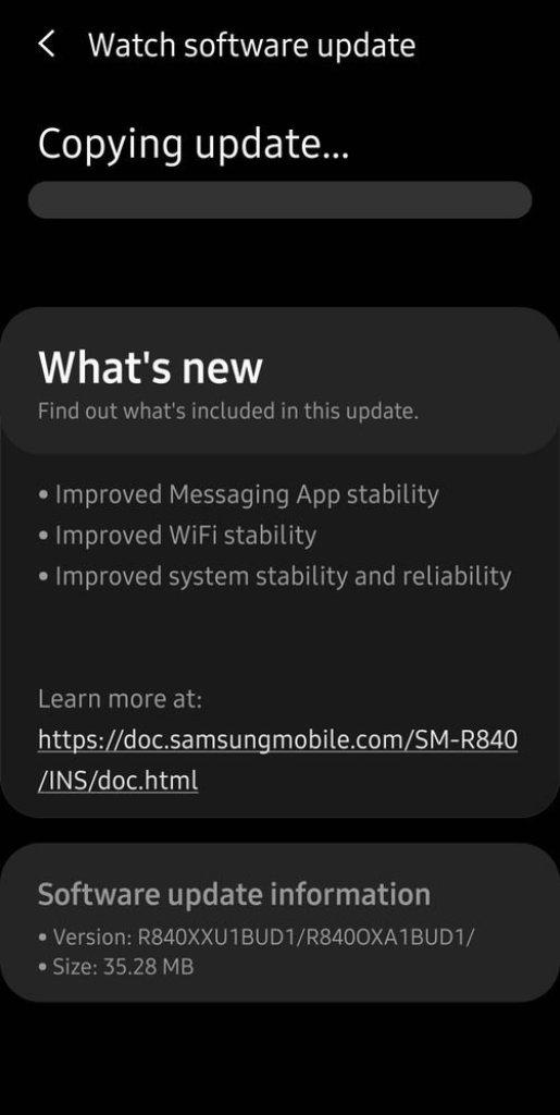 Galaxy Watch 3 Update