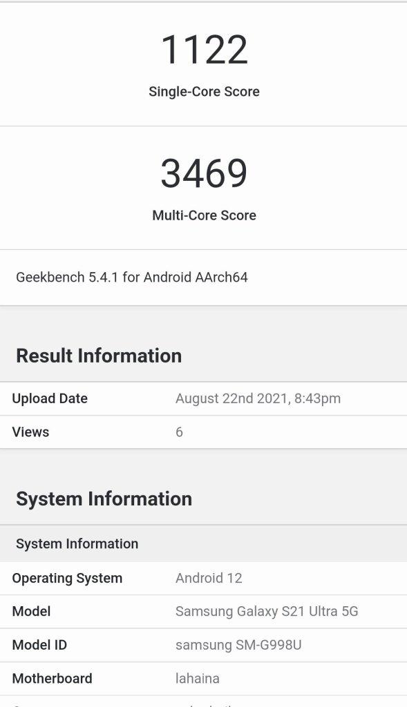 Galaxy S21 Ultra Geekbench Score