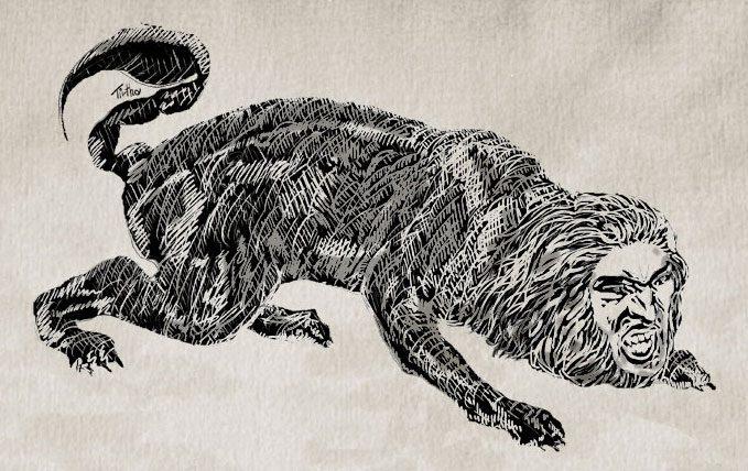 Manticora, disegno a matita su carta da acquerello ritoccato con inchiostri digitali su corel painter
