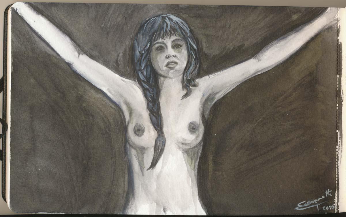 Melusina, dalla mia moleskine, acquerelli schminke horadam e matita