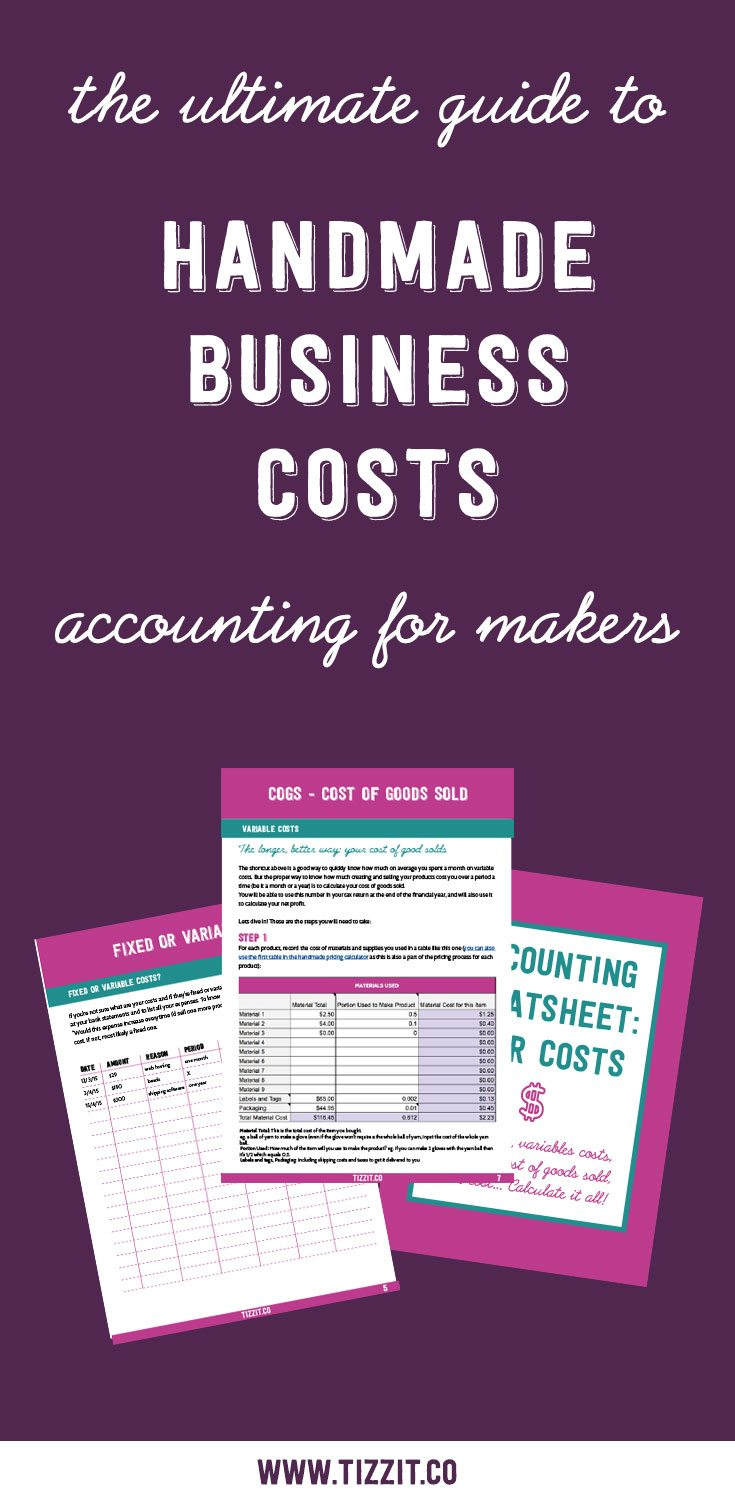 handmade business costs: COGS, overhead, fixed and variables. Head hurts? Get your free cheat sheet to calculate it all super easily!
