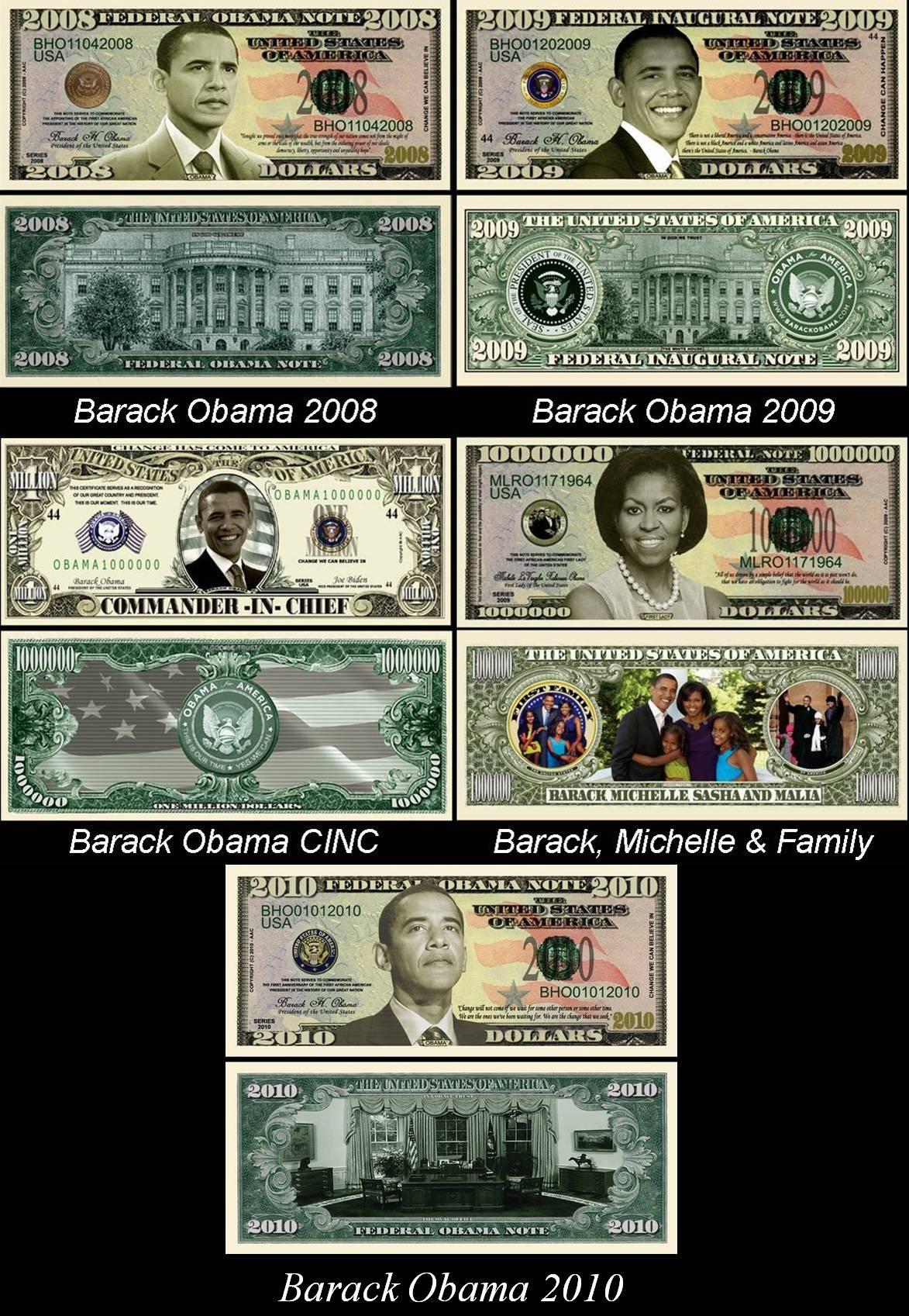 All Five Barack Obama Presidential Dollar Bills