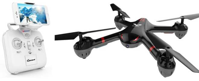 Black MJX X708 drone with white transmitter