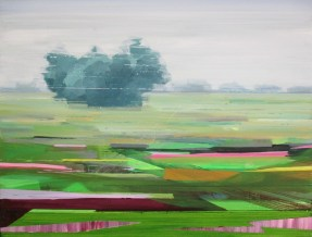 De velden liggen er mooi bij. 2018. acryl op katoen. 50 x 60 cm