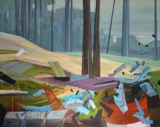 Er waait een andere wind over de camping. 2018. acryl op linnen. 80 x 100 cm