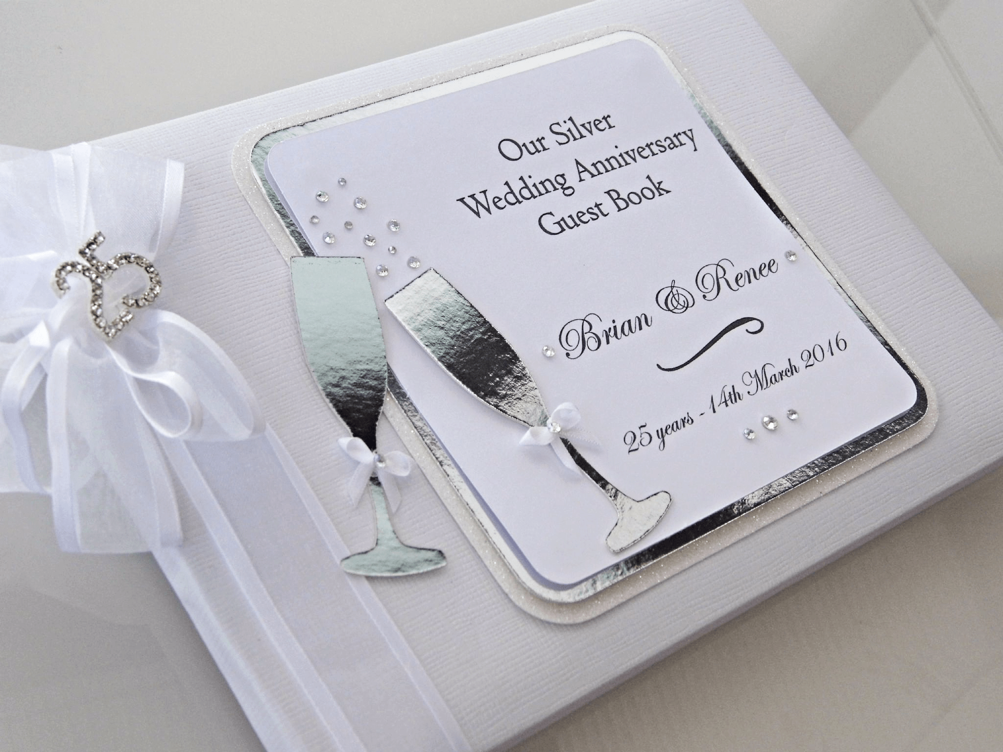 Silver Wedding Anniversary Guest Book Personalised