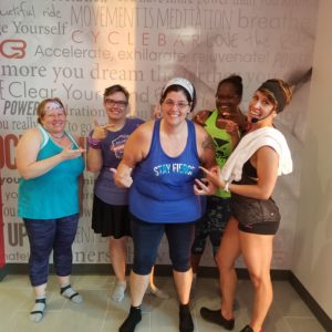 women after Cyclebar workout