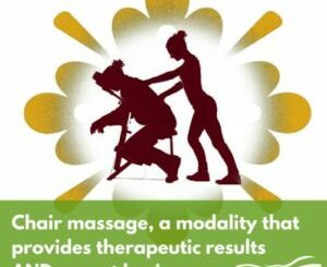 outline of female massage therapist giving chair massage