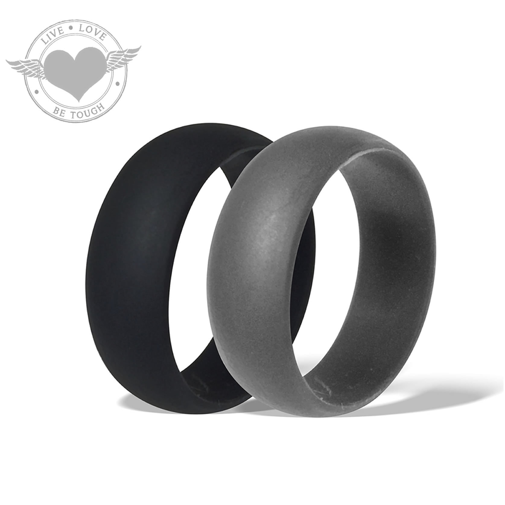 BUNDLE TOUGH Black And Gray Silicone Ring Set