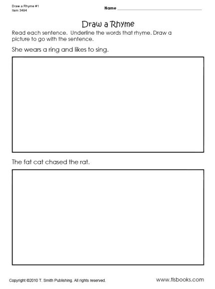 Draw A Rhyme Worksheets 1 And 2