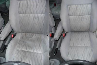 Ford-Galaxy Fahrersitz vorher-nachher - Fahrzeugpflege Massler