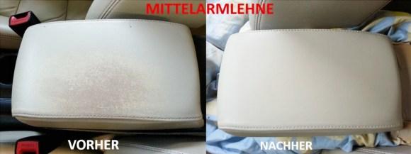 Mittelarmlehne VORHER - NACHHER Lederprofi bei Fahrzeugpflege Massler