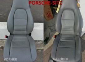 Porsche-Sitz VORHER - NACHHER Lederprofi bei Fahrzeugpflege Massler