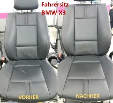 BMW X3 Fahrersitz schwarz VORHER - NACHHER Lederprofi bei Fahrzeugpflege Massler