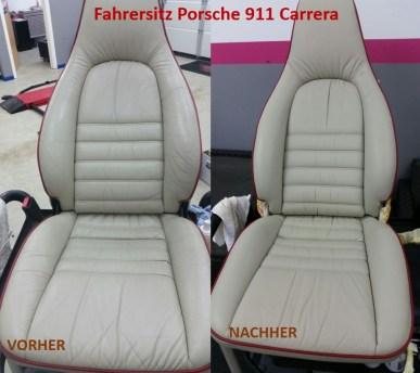 Porsche 911 Carrera Fahrersitz VORHER - NACHHER Lederprofi bei Fahrzeugpflege Massler