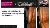 Lederprofi bei Fahrzeugpflege Massler - Beifahrersitz reinigen und Einstiegswange neu einfärben
