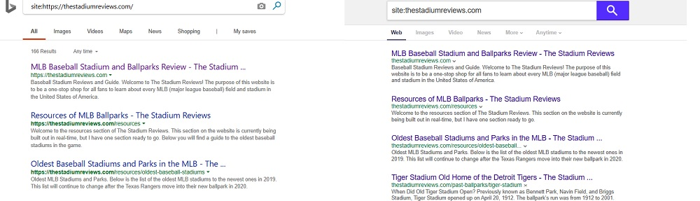 Bing and Yahoo Site Commands