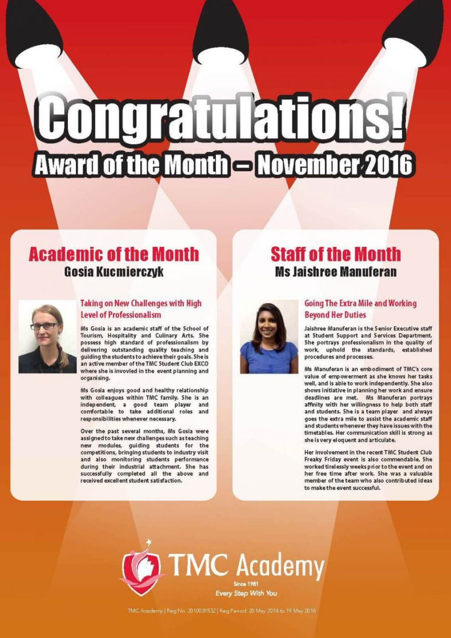 TMC Academy Award of the Month of November 2016