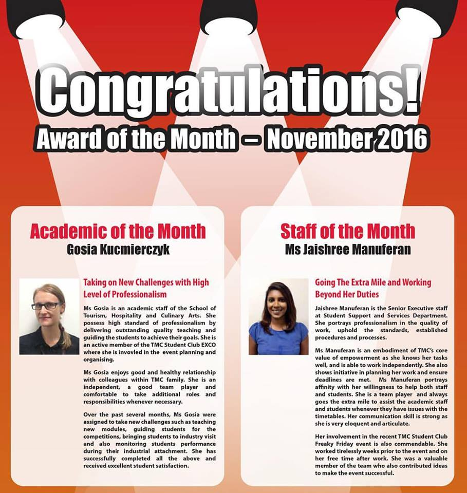 tmc academy award academic of the month of november 2016 | tmc academy