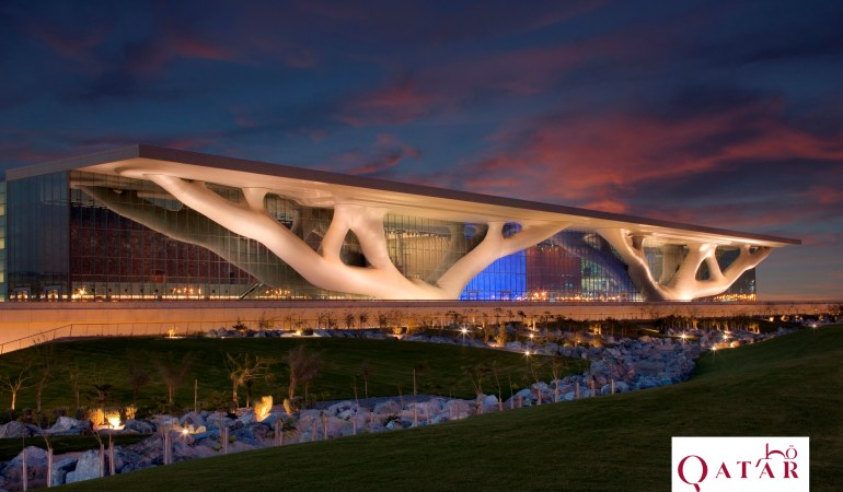 Qatar National Convention Center - Exterior at dusk © Qatar Tourism Authority