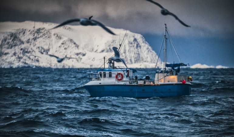 Fishing boats in the arctic sea by IStock piola666