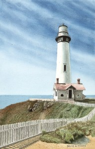 Lighthouse and Sky Watercolor by David G Jones
