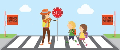 Cartoon image of a school crossing.
