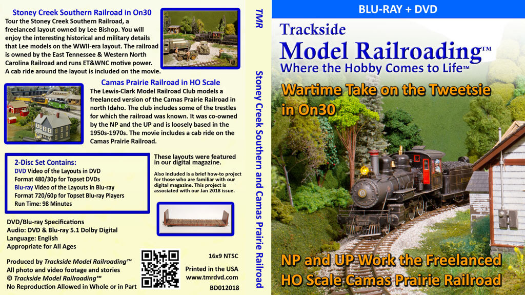 Stoney Creek Southern model railroad in On30 in the WWII era in Tennessee and Camas Prairie Railroad in HO scale.