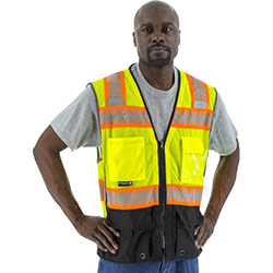 High Visibility Mesh Vest with DOT Reflective Chainsaw Striping, ANSI 2, R