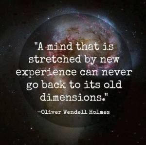 """A mind that is stretched by new experience can never go back to its old dimensions."" -Oliver Wendell Holmes"
